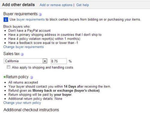 eBay other details