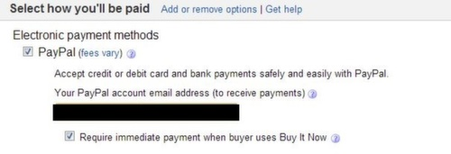 eBay payment options