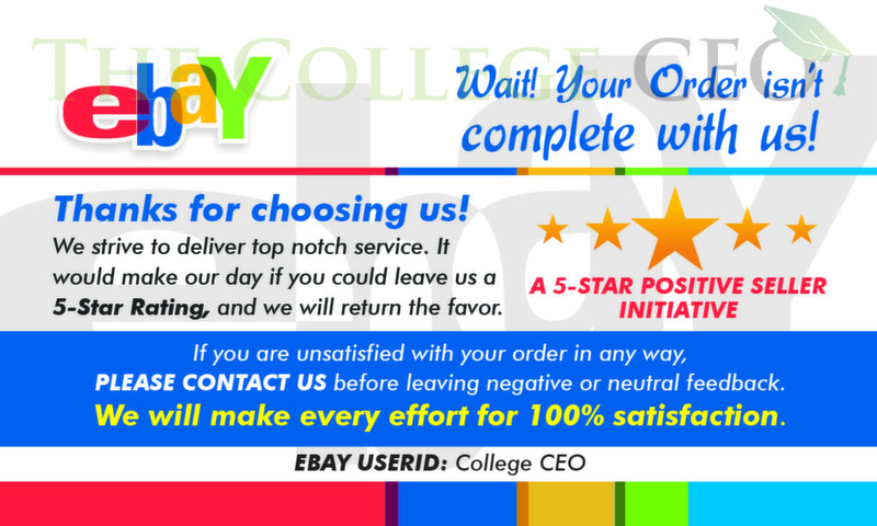 Ebay Seller Thank You Feedback Cards Template Free Download The College Ceo