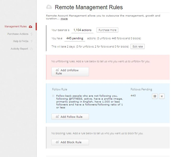 ManageFlitter Remote Management Rule