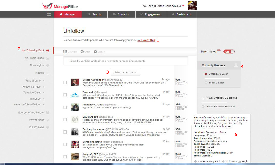ManageFlitter Unfollow Screen