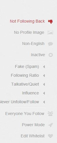 ManageFlitter unfollow options