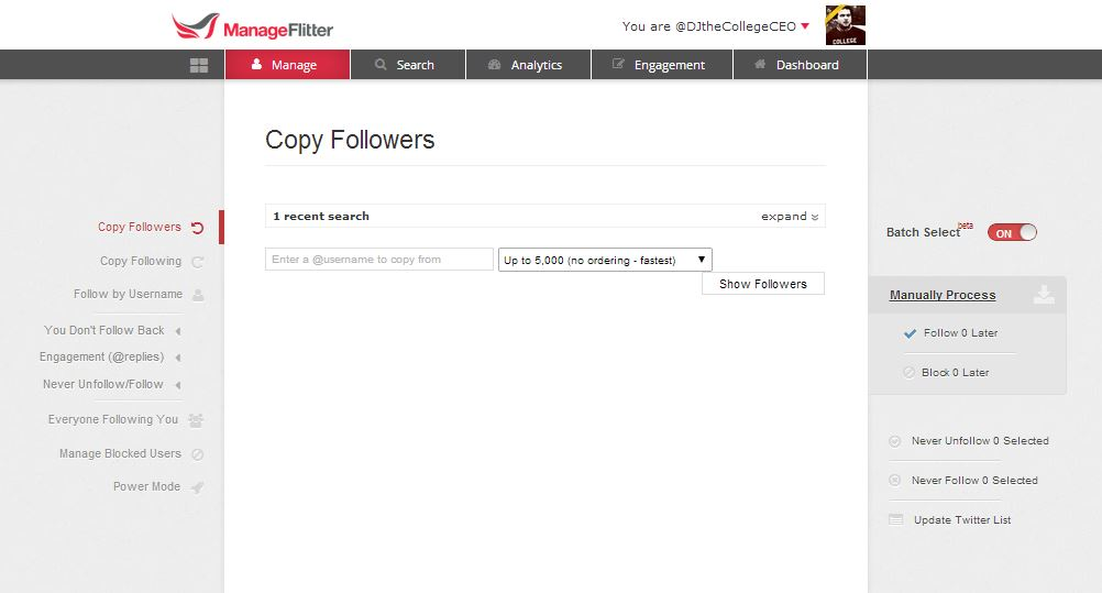ManageFlitter Follow Screen