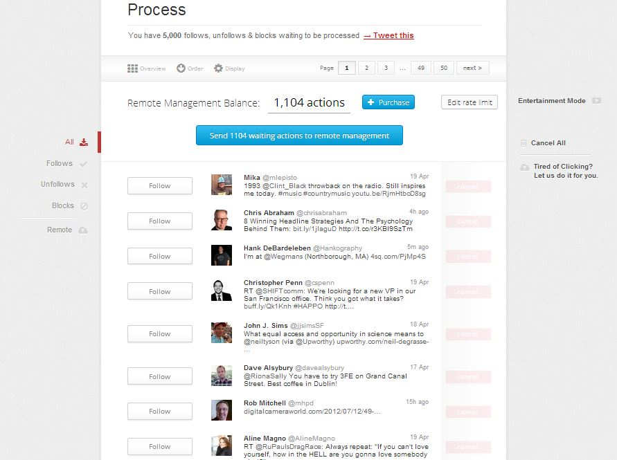 Process ManageFlitter Follow and Unfollows