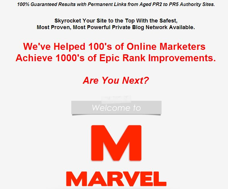 Marvel Authority Network Sales Page